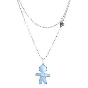 Collana madreperla blu e diamante bimbi gioielli