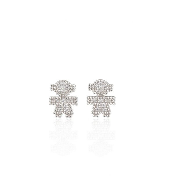 Orecchini oro bianco pavé di diamanti - Bimbi gioielli
